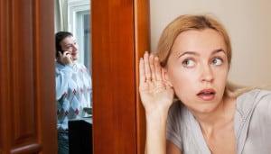 Wife snooping on husband