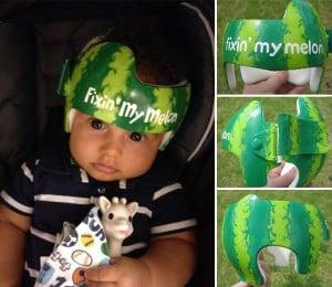 Paula-Strawn painted baby helmet watermelon